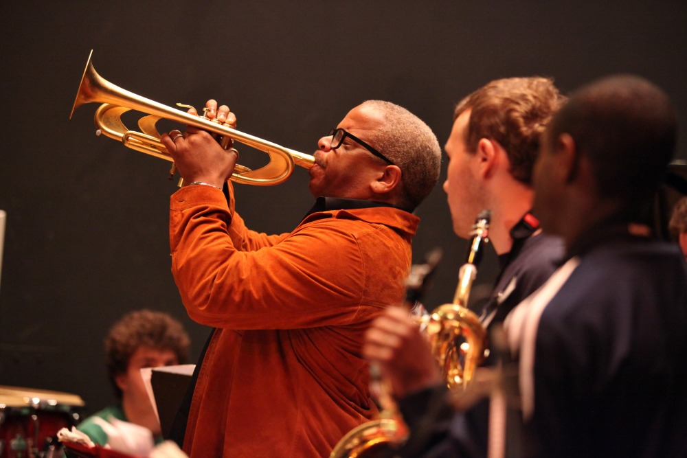Terence Blanchard demonstrates on the trumpet