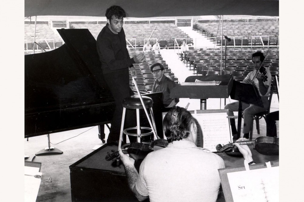 Zubin Mehta, Jerome Lowenthal, and members of The Philadelphia Orchestra during a rehearsal