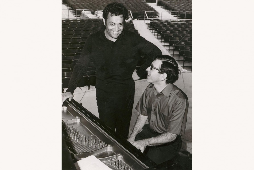 Zubin Mehta and Jerome Lowenthal at the piano during a rehearsal.