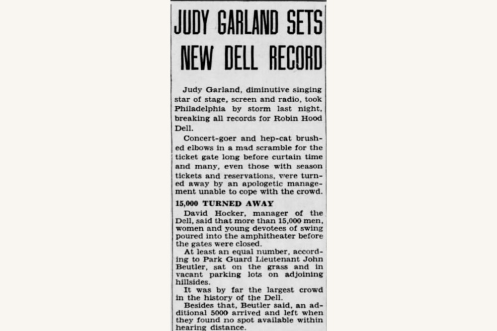 Judy Garland report in the Inquirer 1943