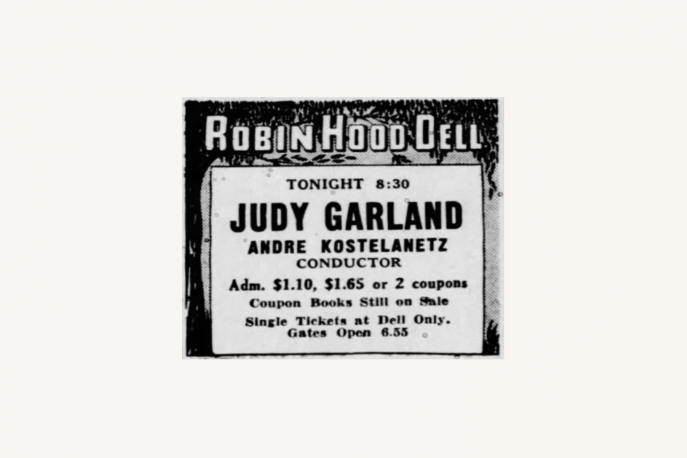 Judy Garland ad in the Philadelphia Inquirer 1943
