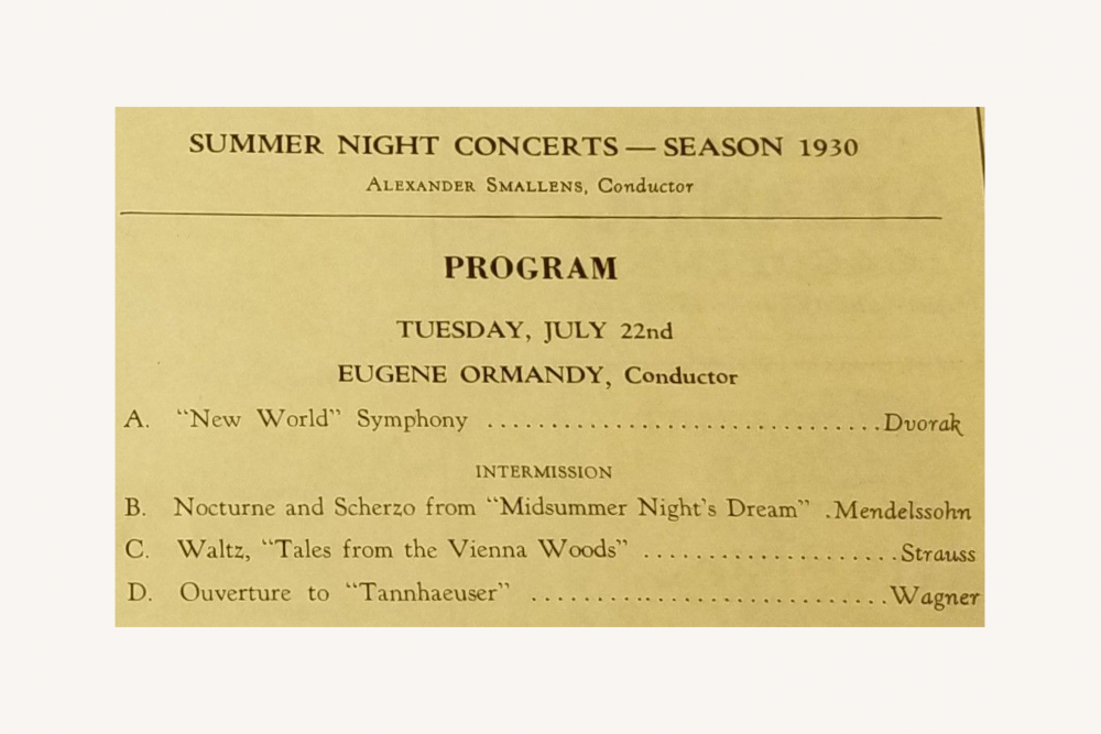 Program for Eugene Ormandy's second concert at Robin Hood Dell, July22, 1930.
