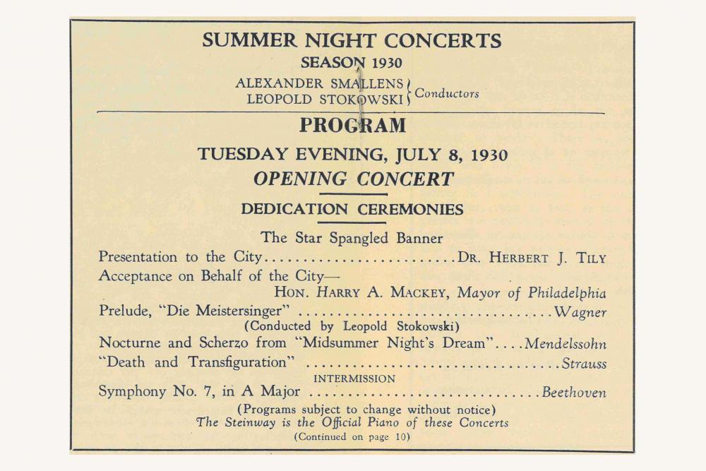Program for inaugural Robin Hood Dell concert, July 8, 1930.