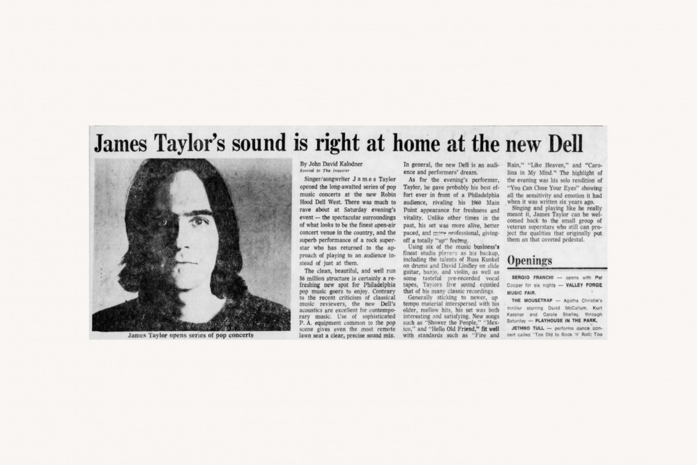 James Taylor review, 1976