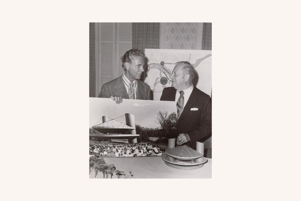 Architect Vincent Kling (left) and Robin Hood Dell President Frederic Mann
