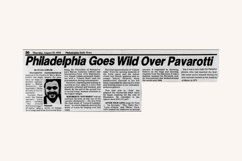 Luciano Pavarotti, Philadelphia Daily News 1979