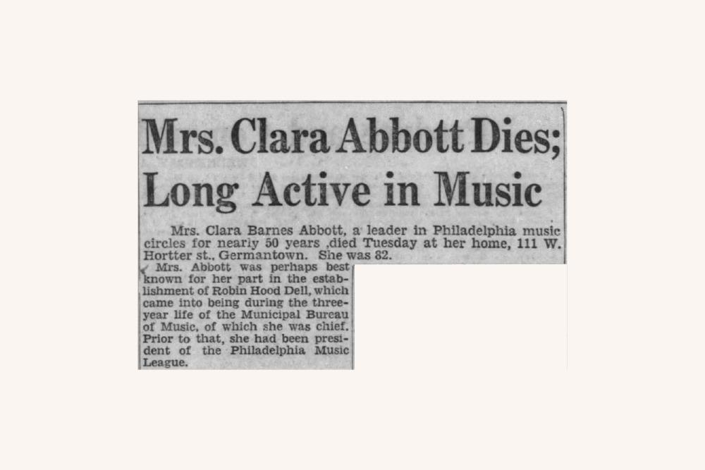 Detail from Clara Barnes Abbott obituary