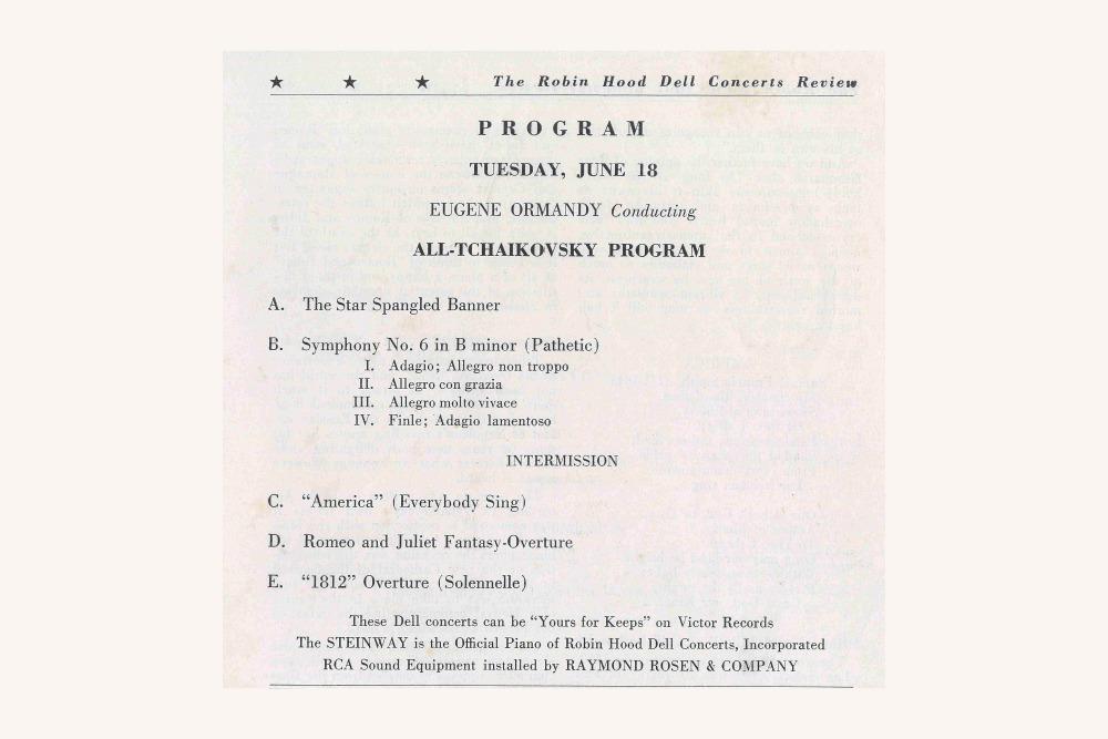Program for June 18, 1940 All Tchaikovsky Concert