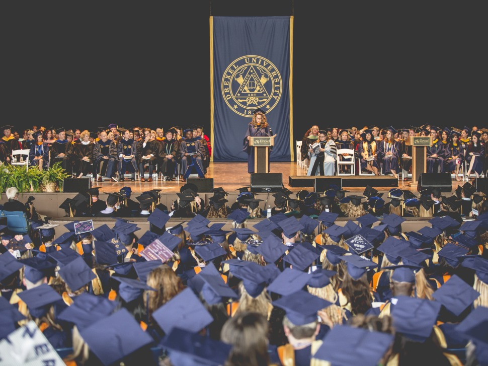 Image of a Drexel University graduation ceremony at the Mann Center
