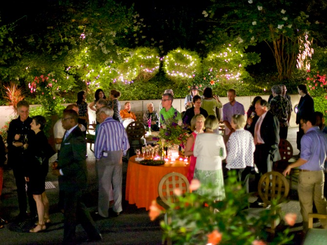 Photo of the Mann Center's Donor Terrace & Garden at night
