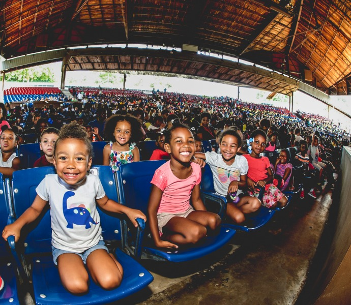 Photo of children participating in educational programming at the Mann Center