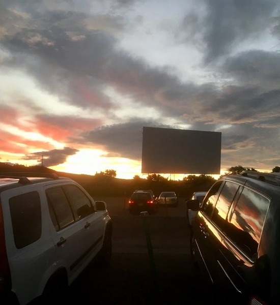 Drive-in at sunset