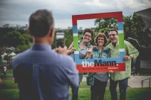 Guests using the Mann photo frame